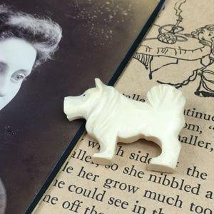 Vintage Carved Bone Dog Brooch